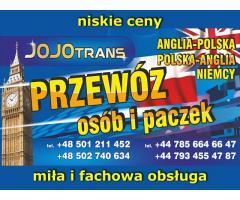 Jojotrans- przewóz osób i paczek Polska-Anglia-Polska
